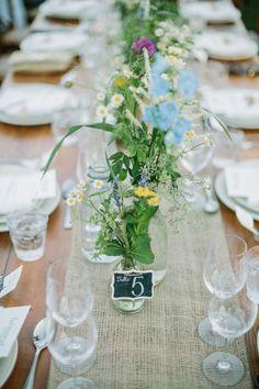 #burlap, #table-runners, #centerpiece  Floral & Event Design: Alicia K Designs   aliciakdesigns.com Photography: Matt Edge Wedding Photography - www.mattedgeweddings.com  Read More: http://www.stylemepretty.com/2014/11/15/casual-st-helena-farm-to-table-wedding/