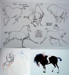 artbook mulan Character Sketches, Character Design Animation, Character Design References, Character Art, Storyboard, Horse Drawings, Animal Drawings, Cartoon Drawings, Disney Horses