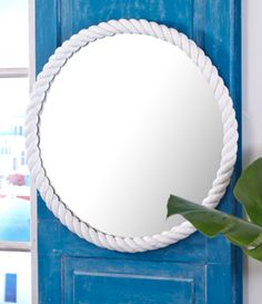 Design Darling home decor & monogrammed gifts — Round White Rope Mirror