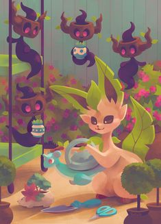 Eevee House - Leafeon by Pombei.deviantart.com on @DeviantArt (Phantump)