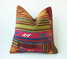 Vintage Decorative Kilim Throw Pillow 16'' x by TurkishCraftsArts, $68.00