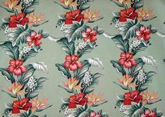 Botanical Fabric from BarkclothHawaii.com with hibiscus & Bird Of Paradise flowers laid out in a lei style pattern.