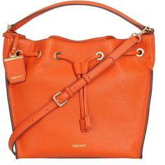 DKNY Chelsea Vintage Leather Bucket Bag , Orange ($425) ❤ liked on Polyvore featuring bags, handbags, shoulder bags, orange, handbags purses, vintage shoulder bag, vintage purses, purse shoulder bag and vintage handbags purses