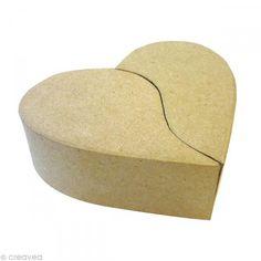 Caja corazón 2 partes de cartón 17 cm - Fotografía n°1
