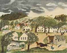 Hurricane in Hoosick Falls © Grandma Moses Properties Co., New York by Grandma Moses from Galerie St. Etienne