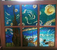 Glass on Glass mosaic windowStarry Night - Delphi Glass Artist Gallery Entry. Showcase your art glass projects. Mosaic Diy, Mosaic Glass, Mosaic Ideas, Faux Window, Window Panes, Stars At Night, Star Night, Mosaic Windows, Glass Art Design