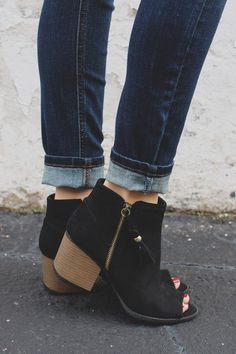 When your next date with your kindling romance rolls around, wear these booties to really Start the Fire! These simple yet sassy booties are a pair of faux suede, peep toe ankle booties with stitched