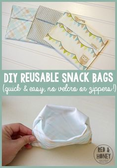 DIY Reusable Snack Bags with full instructions! In the interest of full disclosure, I warn you that I am not a very good seamstress. I am really good at sewing a straight line, but that?t worry if you aren?t good at sewing. Sewing Hacks, Sewing Tutorials, Sewing Crafts, Sewing Tips, Sewing Basics, Sewing Ideas, Sewing Patterns Free, Free Sewing, Diy 2019