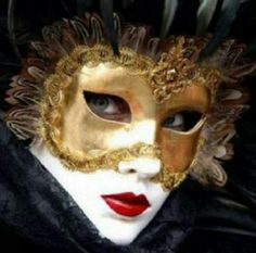 White Painted Face & Gold Mask Over Eyes