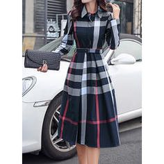 Navy Blue Plaid Belt Turndown Collar Long Sleeve Midi Dress I would definitely wear this, a bit longer, with black boots Outfits with boots 54 Modest Street Style Ideas To Rock This Fall - Luxe Fashion New Trends Trendy Dresses, Elegant Dresses, Cute Dresses, Beautiful Dresses, Midi Dresses, Knee Length Dresses, Fall Dresses, A Line Dresses, Work Dresses
