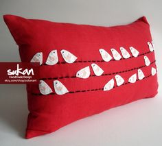 Sukan / Red Linen White Birds pillow covers red by sukanart