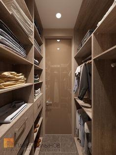 Фото: Дизайн интерьера гардеробной комнаты - Интерьер квартиры в стиле минимализм, ЖК «Классика», 130 кв.м.