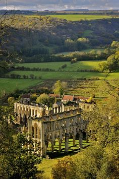 Rievaulx Abbey, North Yorkshire, England, before Dissalution of the Monasteries by that horrible King Henry VIII Britain was awash with stunning monasteries and abbeys, a pox on him for destroying these beautiful buildings