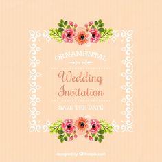 çiçek detayları Ücretsiz Vektör ile çerçevenin düğün davetiyesi
