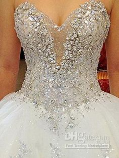 wedding dress with bling | ... Sweetheart A-Line Chapel Train Wedding Dresses Bridal Gowns H-611