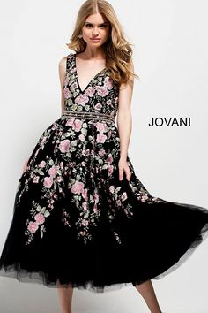 Fit and flare below the knee black multi color floral embroidered cocktail dress with embellished belt features sleeveless bodice with v neck.