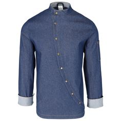 Denim Button Up, Button Up Shirts, Chef Jackets, Tops, Fashion, Moda, Fashion Styles, Fashion Illustrations