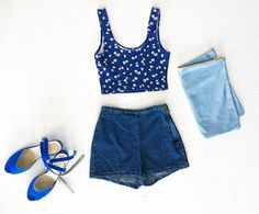 Summer blues with denim, leather and the new Daisy Print #AAoutfitideas