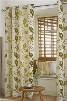 Buy Green Leaf Trail Flock Eyelet Curtains from the Next UK online shop