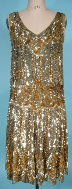 c. 1926 INCREDIBLE Gold Sequin Flapper Dress on Cotton Netting