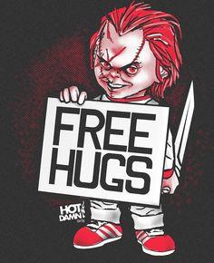 Image of I Like To Be Hugged - Chucky/Free Hugs Parody Mashup T-shirt