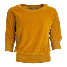 Deze Froy & Dind sweater van zacht velours in oker koop je eenvoudig en veilig online ✓ Bio-katoen ✓ Duurzame en betrouwbare verzending via Fietskoeriers