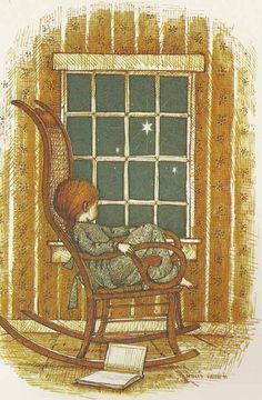 A sweet image, reminds me of myself when I was a child.....reading, sitting in a rocker, looking out the window in the evening.