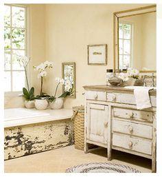 I really like this idea for a bathtub frame.    Padgett Hoke: Flea market finds repurposed