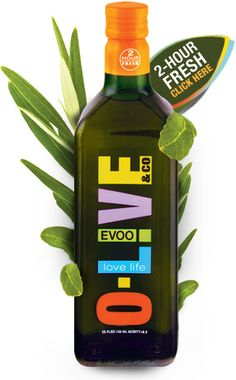 The Olive label is bright, colorful, and modern looking. The Olive logo is situated vertically on the bottle to allow for larger font. The different colors stand out and draw the eye. Plus, the bright orange cap label is even brighter and has a small gradient to yellow, which adds interest and more detail space.