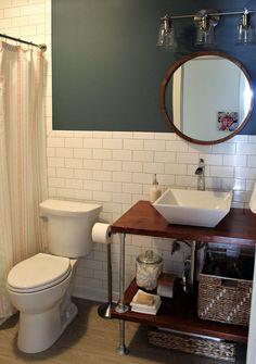 DIY Open Bathroom Vanity Shelves