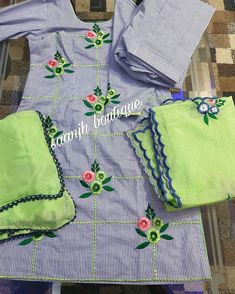 Instagram Embroidery Suits Punjabi, Hand Embroidery Dress, Embroidery Suits Design, Embroidered Clothes, Embroidery Patterns, Machine Embroidery, Punjabi Dress Design, Designer Punjabi Suits Patiala, Indian Designer Suits