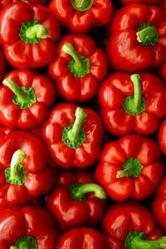 Red Peppers - Red and Green Fruit And Veg, Fruits And Vegetables, Fresh Fruit, Food Wallpaper, Simply Red, Red Aesthetic, Stuffed Hot Peppers, Shades Of Red, Raw Food Recipes