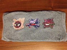 Three Pokemon Tops www.etsy.com/shop/spriteshirts #pokemon #gaming #crossstitching  #stitching #sprites #spriteshirts #etsy #gengar #haunter #ghastly