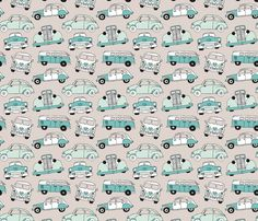 Cute vintage cars illustration with oldtimers and vw bus in beige and blue illustration pattern for boys fabric by littlesmilemakers on Spoonflower - custom fabric