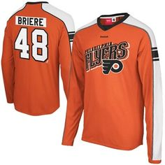Reebok Daniel Briere Philadelphia Flyers Player Long Sleeve Jersey T-Shirt  - Orange 27badeaad