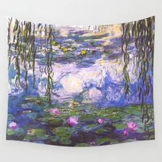Monet Water Lilies Wall Tapestry Tapestry Bedroom, Tapestry Wall Hanging, Monet Water Lilies, Wall Decor, Wall Art, Lily, Interior Design, Wallpaper, Tapestries