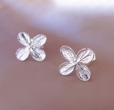 Tiny Hydrangea Flower Post Earrings  Sterling Silver by esdesigns