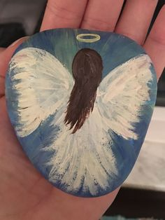 Angel painted rock