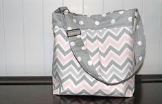 NEW Medium Diaper Bag  Grey and Pink Chevron and by LanaRaePurses, $60.00