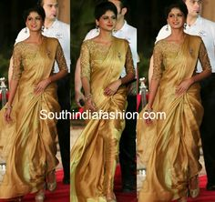 Naveena in Gold Saree – Actress Naveena attended GAMA Tollywood Music Awards in plain gold satin saree paired with gold embroidered elbow length sleeves designer blouse. Onam Saree, Kerala Saree, Indian Sarees, Golden Blouse Designs, Saree Blouse Designs, Golden Saree, Golden Blouse Saree, Satin Saree, Silk Sarees