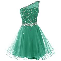Dresstells Women's One Shoulder Prom Dresses Homecoming Dress with... (64 CAD) ❤ liked on Polyvore featuring dresses, homecoming, green one shoulder dress, homecoming dresses, beaded dress, one-sleeve dress and beaded cocktail dress