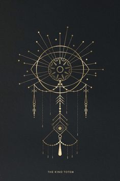 Totemic linework hangs in a delicate balance of gold and black.