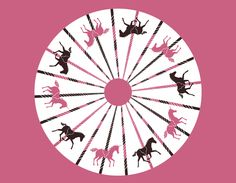 Vintage Carousel Skirt Kit  Create your own magical carousel skirt featuring unicorns and horses in bubblegum pink and chocolate brown.