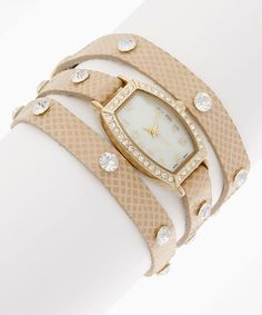Bone & Gold Snake Wrap Watch