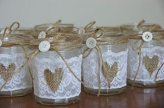 Shabby Chic / Rustic Wedding / Vintage 10 Decorated Glass Jars - Centre Pieces