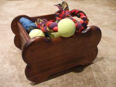 Pet Toy Box - Small Bone Shaped - Stained Red Mahogany. $30.00, via Etsy.
