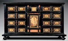 CABINET Ebène, paesina, pierres dures H 58 cm l 95 cm P 30 cm Italie Rome…