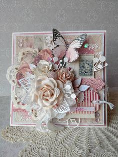 Beautiful Handmade Pink Shabby Chic Valentine's Card
