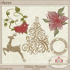Glitter Stamps - Christmas