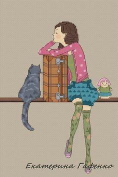 0 point de croix fille et valise - cross stitch girl with suitcase